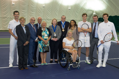 Tim Henman, local councillors, Mayor of Merton, Mayor of Wandsworth, Jamie Murray, Philip Brook, Andy Murray and Jordanne Whiley, at The official Opening of AELTC community sports ground, Rains Park, Wimbledon. Wednesday 08/06/2016. Credit: AELTC/Thomas Lovelock